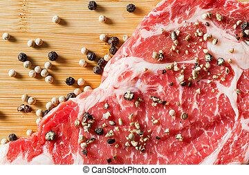 cierre, Arriba, viejo, carne de vaca, ribeye, pimienta