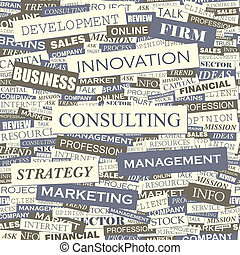 CONSULTING. Seamless pattern. Concept related words in tag...