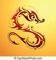 Dragon tattoo - Red dragon tattoo in tribal art style