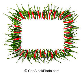 Rectangular red and green bird chili frame - Close up...