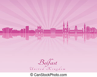 Belfast skyline in purple radiant orchid in editable vector...