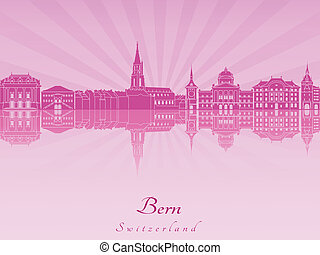 Bern skyline in purple radiant orchid in editable vector...