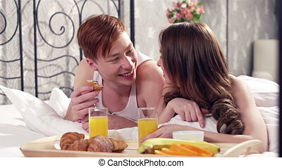Delicious Breakfast - Lovely sweethearts eating their...