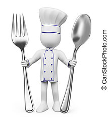 3D white people Chef - 3d white people Chef with spoon and...