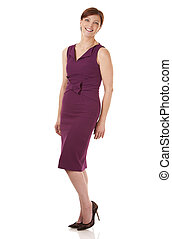 business woman - pretty business woman wearing dress on...