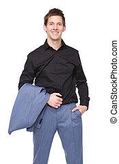 Businessman holding suit jacket - Portrait of a smiling...