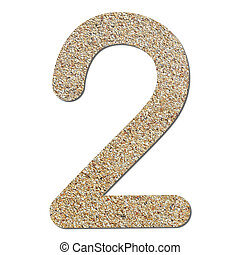 Font rough gravel texture numeric 2 with shadow and path