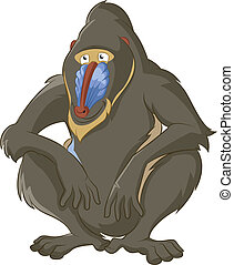 Baboon - Vector image of funny cartoon wisdom baboon