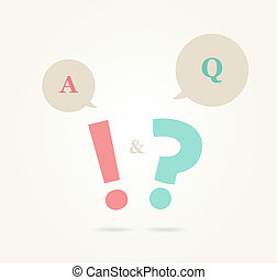 speech bubbles with question and answer, retro colors