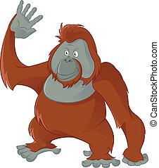 Orangutan - Vector image of fiunny cartoon smiling Orangutan