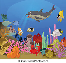 Sea world - Vector image of sea world with diffirent animals