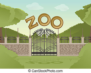 Zoo - Vector image of cartoon zoological garden background