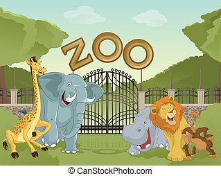 Zoo with african animals - Vector image of cartoon zoo with...