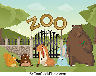 Zoo with forest animals - Vector image of cartoon zoo with...