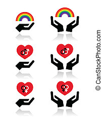 Rainbow, gay and lesbian symbols - GBLT community rights...
