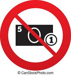 No Cash sign icon Money symbol Coin - No Cash sign icon...