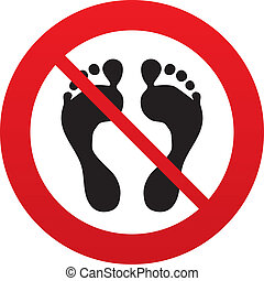 Human footprint sign icon No Barefoot symbol Foot silhouette...