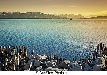 lake constance night - An image of the alps by night at Lake...