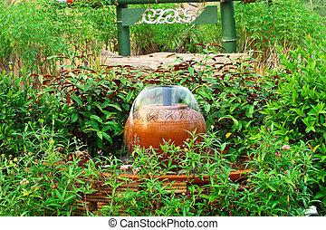 Fountain from earthenware and decoration for garden