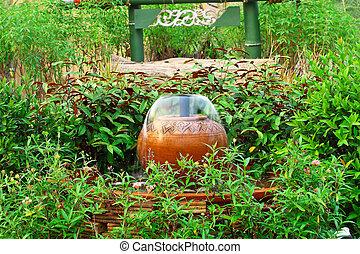decoración, fuente, jardín, loza de barro