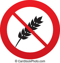 No Gluten free sign icon. No gluten symbol. Red prohibition...