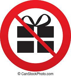 No Gift box sign icon. Present symbol. Red prohibition sign....
