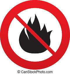 No Fire flame sign icon Fire symbol Stop fire Escape from...