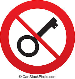 No Key sign icon. Unlock tool symbol. - Do not use Key sign...