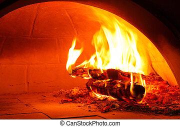 Leña, horno, endurecer, pizza