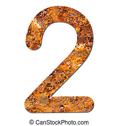 Font rusty steel texture numeric two 2 with shadow and path