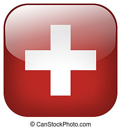 Switzerland national flag square button isolated on white...