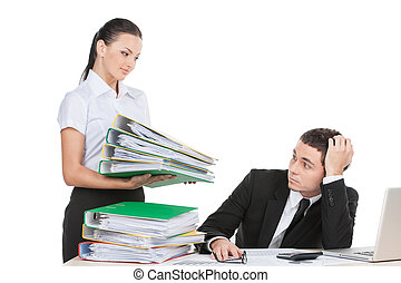 beautiful young lady holding documents stressed businessman...
