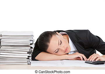beautiful young worker sleeping on desk attractive business...