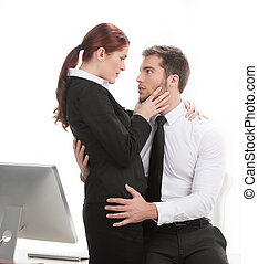 young beautiful coworkers having affair handsome man...