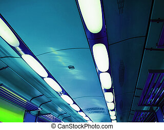 Train lights - Rows of light in a train interior