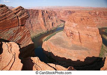vista, ferradura, curva, Utah, EUA