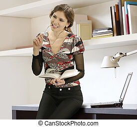businesswoman and books
