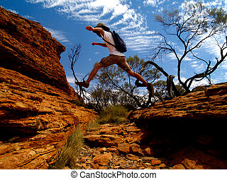 Kings Canyon Jump - Australian Kings Canyon with typical red...