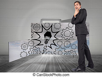 Composite image of thinking businessman touching chin -...