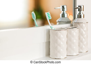 Toothbrush in bathrom