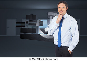 Composite image of thinking businessman touching his chin -...