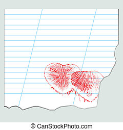 hearts on a sheet of notebook