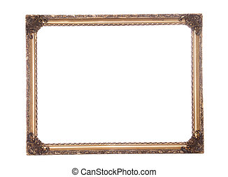 Ornate antique gold gilt frame cutout