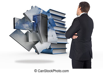 Composite image of thinking businessman - Thinking...