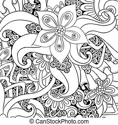 Vector floral decorative background Black and white - Vector...