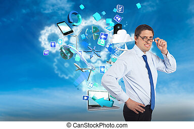Composite image of thinking businessman tilting glasses -...