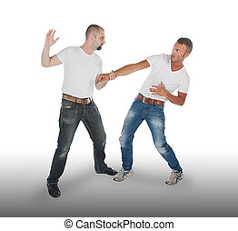 Man attacking other man, isolated on white