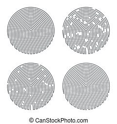 Black Isolated Fingerprint on White Background. Vector.
