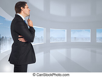 Composite image of thinking busines - Thinking businessman...