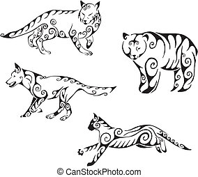 predator animals in tribal style - Predator animals in...